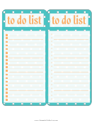 To Do List Teal 2 Per Page