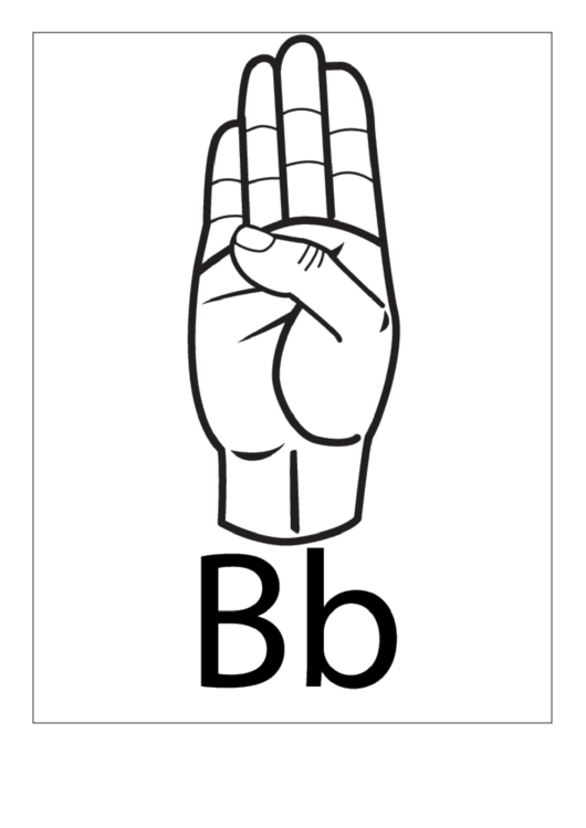 Letter B Sign Language Template - Outline
