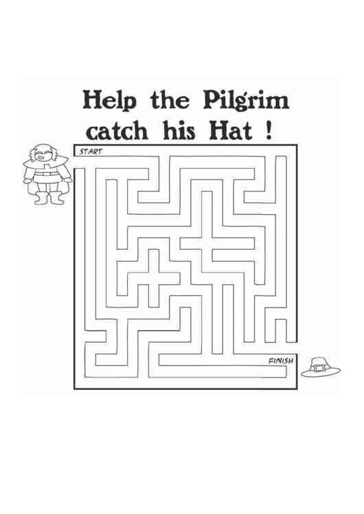 Pilgrim Hat Thanksgiving Maze Template printable pdf download