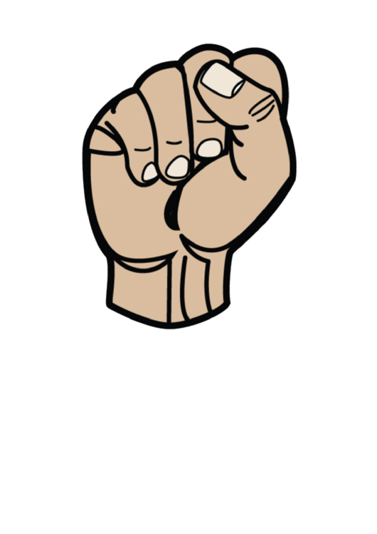 Letter S Sign Language Template - Filled No Label