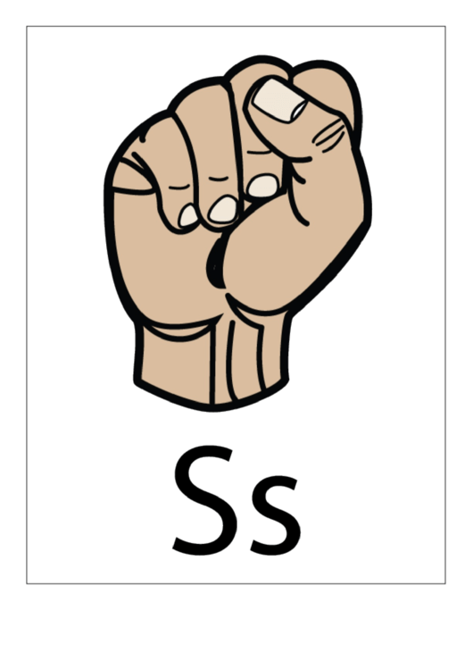 Letter S Sign Language Template - Filled With Label