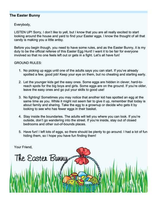 Easter Bunny Letter Template Egg Hunt Rules Printable