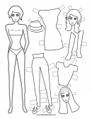 Fashion Paper Doll With Fedora To Color