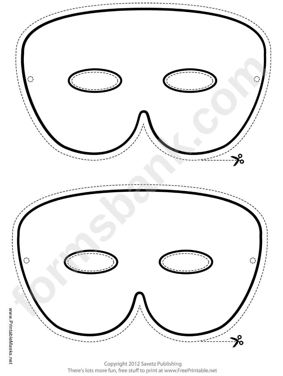 Mardi Gras Simple Outline Mask Template Printable Pdf Download