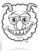 Monster Horns Outline Mask Template