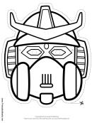 Robot Horns Crest Outline Mask Template