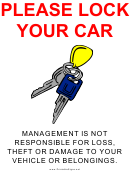 Please Lock Your Car Sign