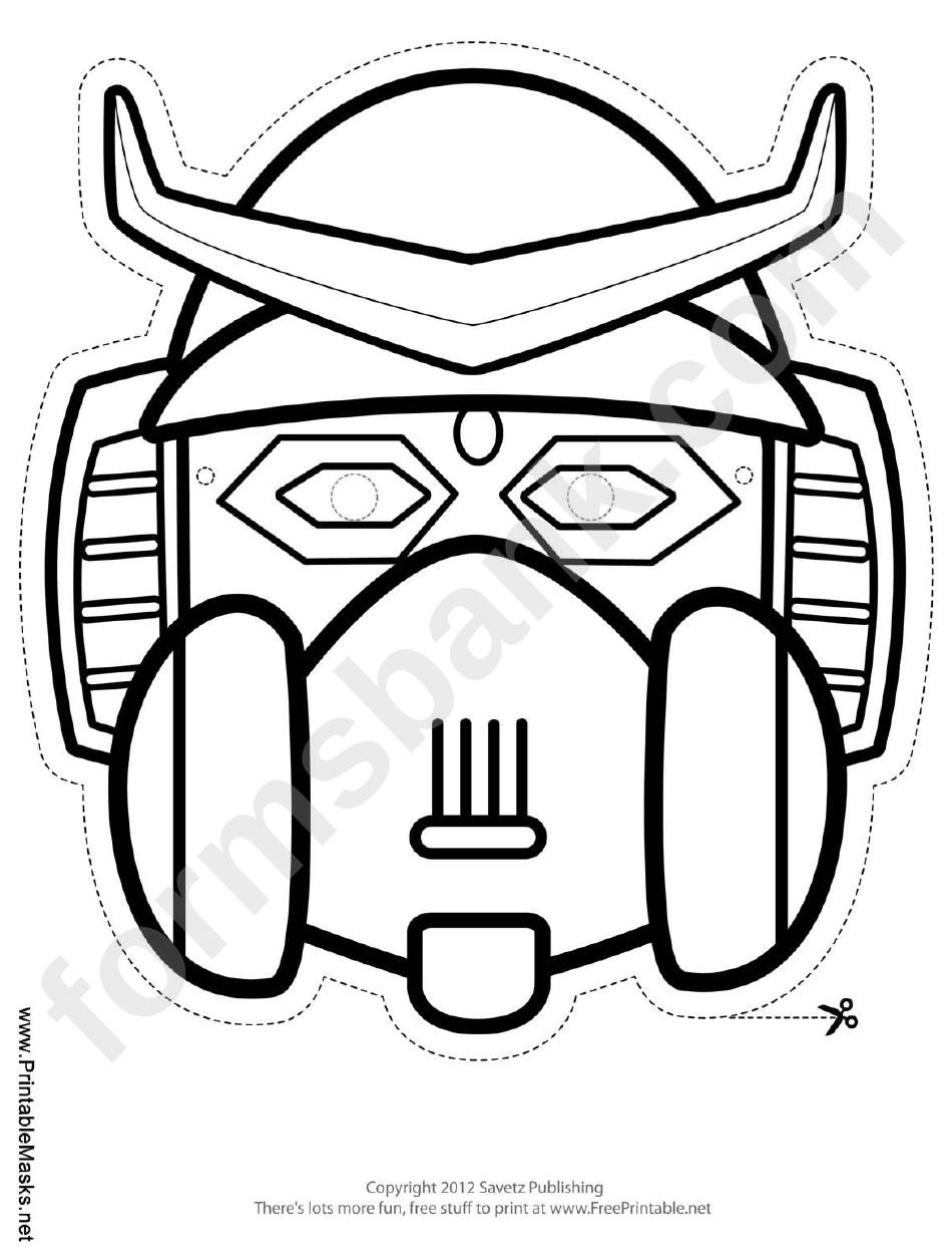 robot horns outline mask template printable pdf download