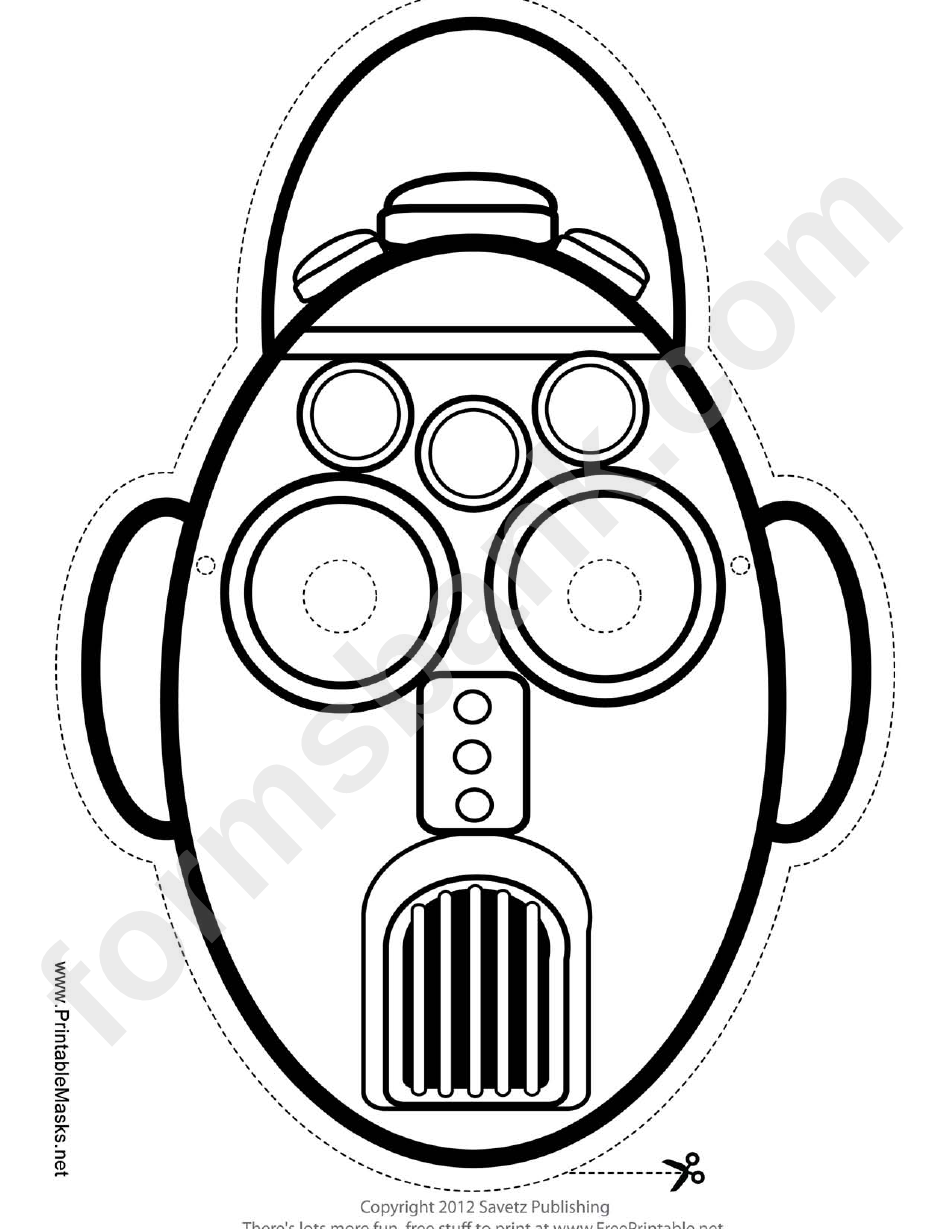 Robot Tall Oval Outline Mask Template printable pdf download