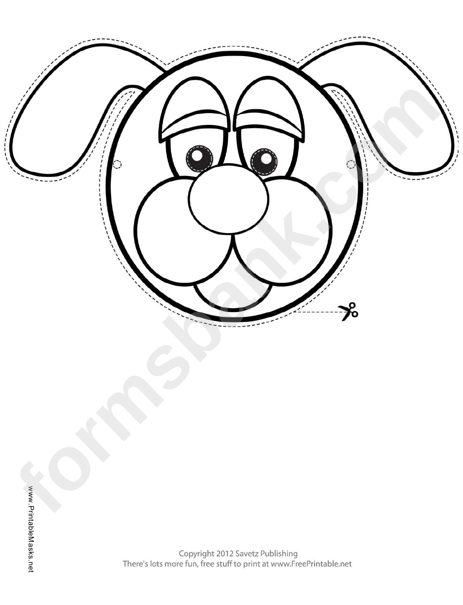 Dog Mask Outline Template printable pdf download