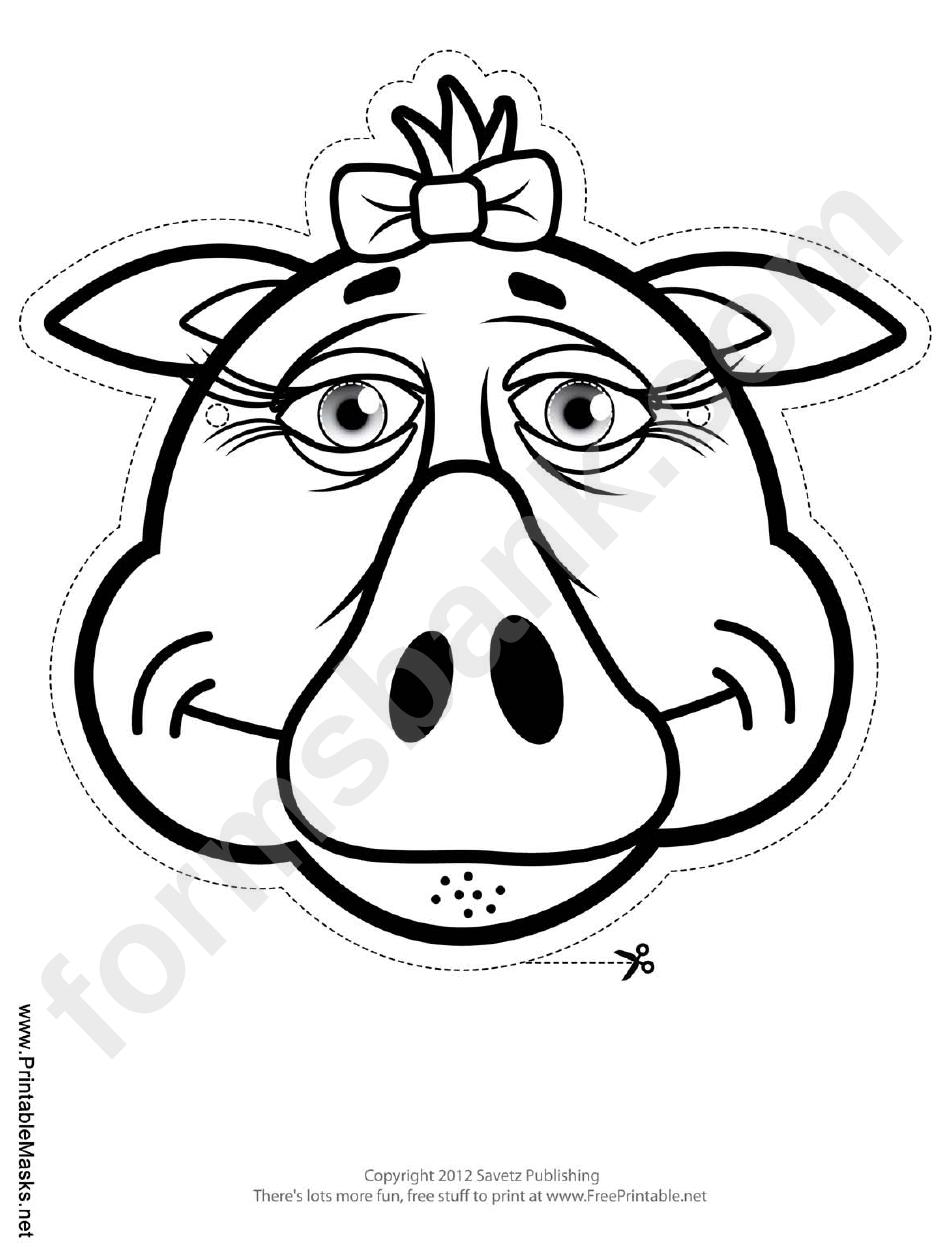 Pig bow mask outline template printable pdf download pig bow mask outline template maxwellsz