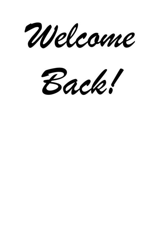 welcome back template