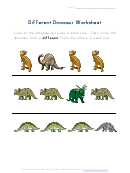 Different Dinosaur Worksheet