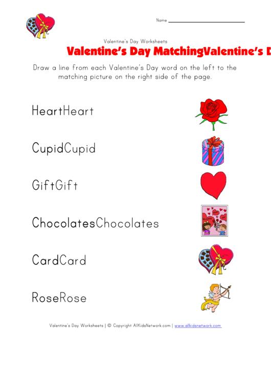 Valentine's Day Matching Worksheet
