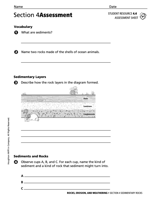 Section 4 Assessment Sedimentary Rocks Geology Worksheet
