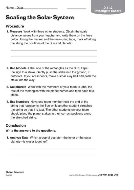 Scaling The Solar System Astronomy Worksheet Printable Pdf Download. Scaling The Solar System Astronomy Worksheet. Worksheet. Label The Solar System Worksheet At Mspartners.co