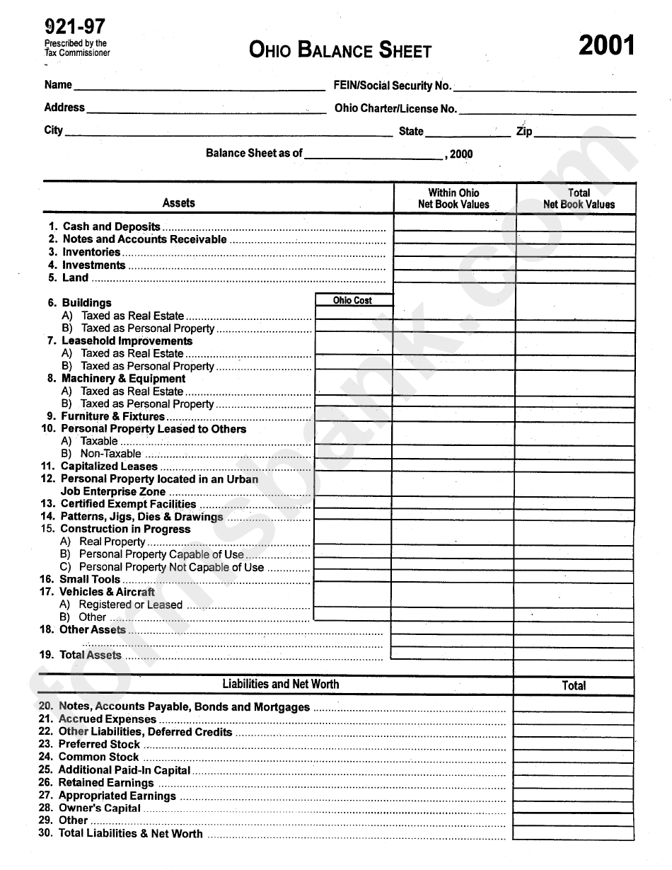 Form 921-97 - Ohio Balance Sheet - 2001