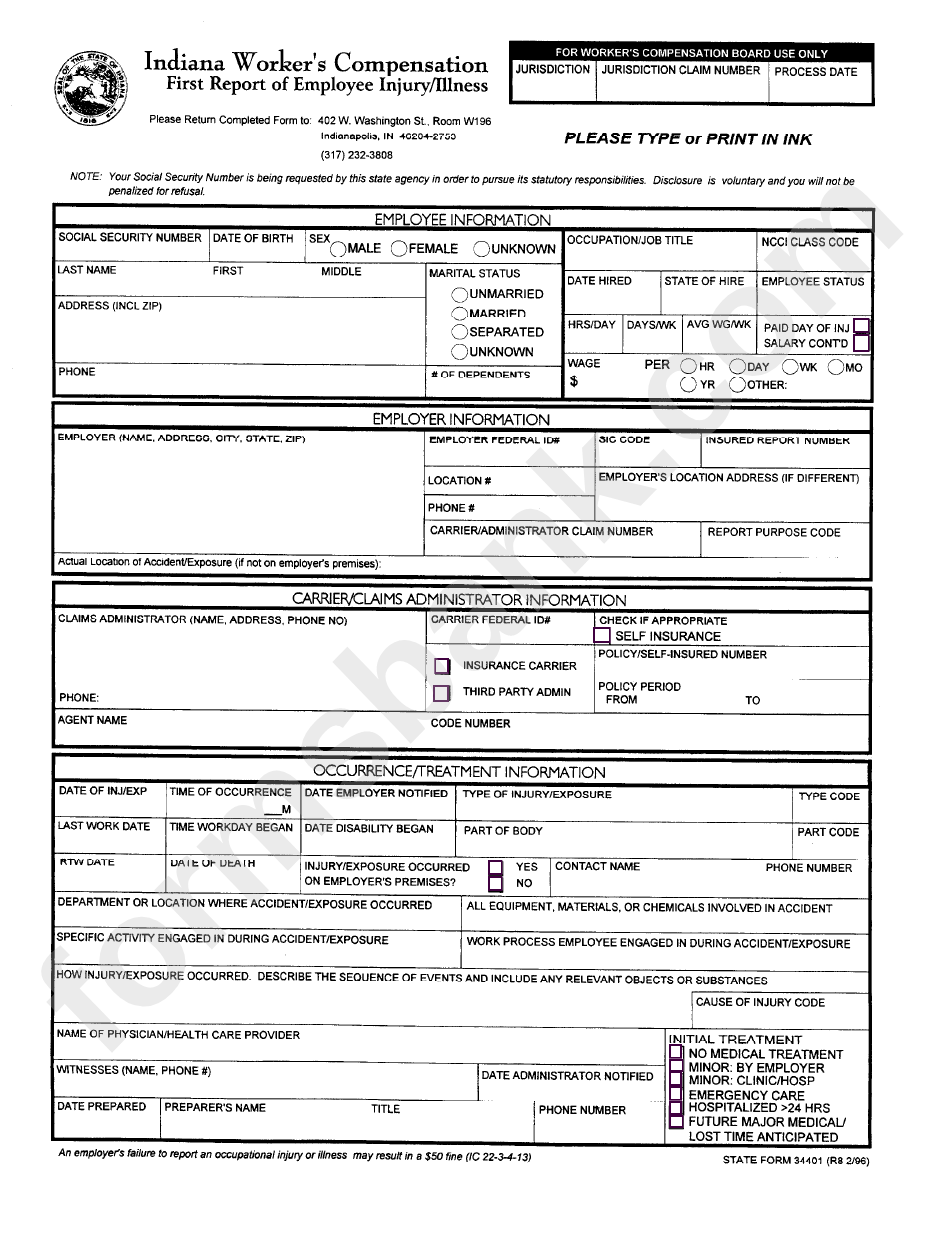 Fillable State Form 24401 - First Report Of Employee Injury/illness ...