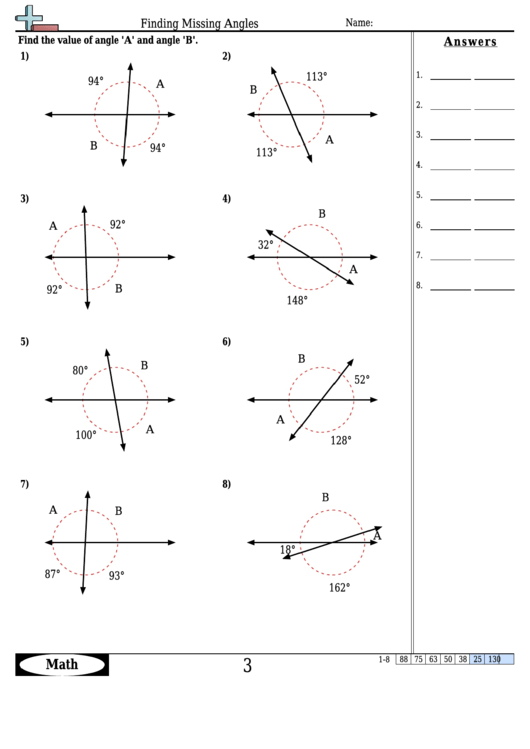 Finding Missing Angles Angle Worksheet With Answers
