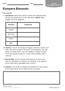 Compare Elements Chemistry Worksheet