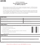 Form Ar-ms - Tax Exemption Certificate For Military Spouse
