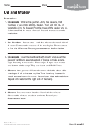 Oil And Water Chemistry Worksheet