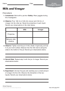 Milk And Vinegar Chemistry Worksheet