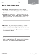 Sand, Salt, Solutions Chemistry Worksheet