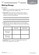 Making Change Chemistry Worksheet
