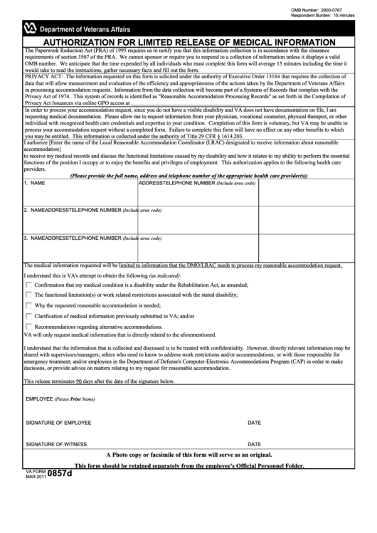 Fillable Va Form 0857d - Authorization For Limited Release Of Medical Information Printable pdf