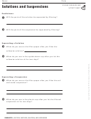 Solutions And Suspensions Activity Sheet