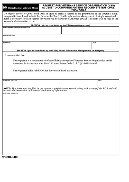 Va Form 10-0400 - Request For Veterans Service Organization (Vso) Access To Computer Patient Record System (Cprs) Printable pdf