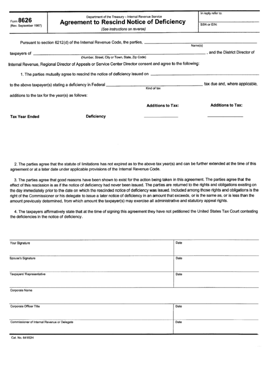 Form 8626 - Agreement To Rescind Notice Of Deficiency Printable pdf