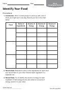 Identify Your Food Biology Worksheet