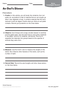 An Owl's Dinner Biology Worksheet