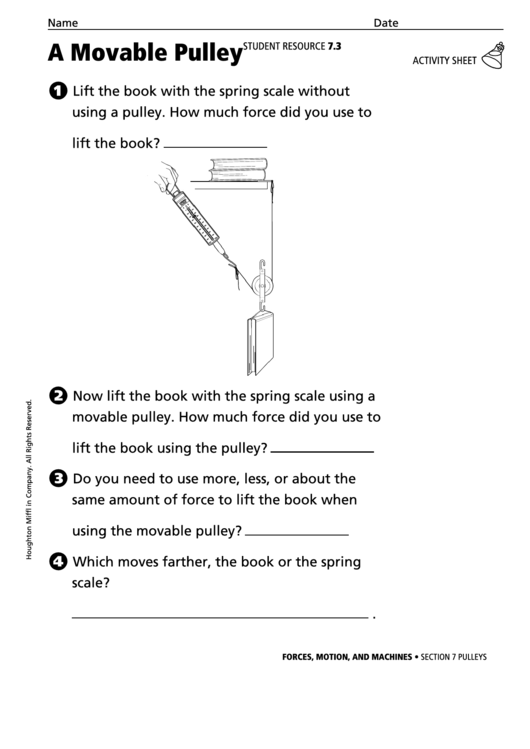 A Movable Pulley Physics Worksheet printable pdf download