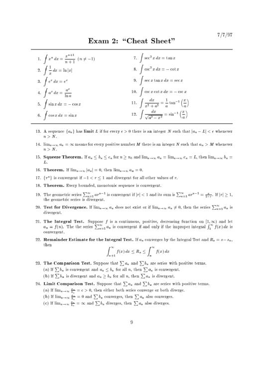 Exam 2: Cheat Sheet