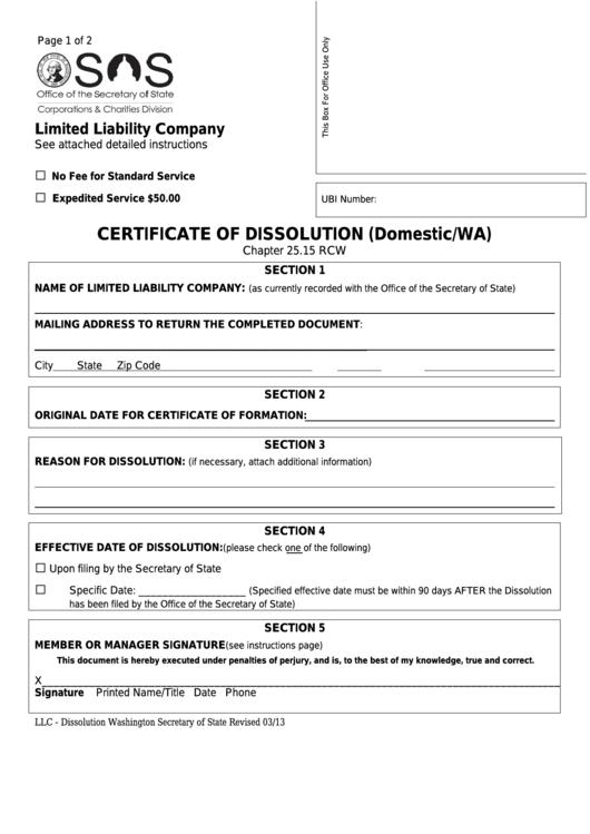Certificate Of Dissolution (domestic/wa) - Limited Liability Company