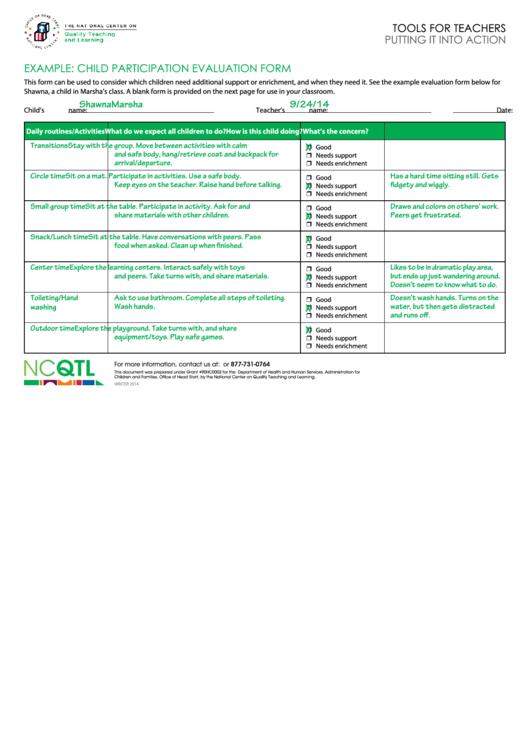 Child Participation Evaluation Form