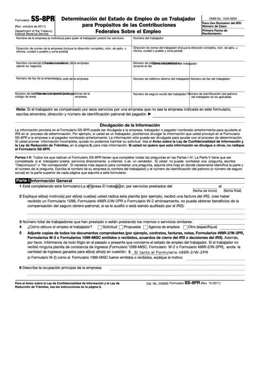 Formulario Ss-8pr - Determinacion Del Estado De Empleo De Un Trabajador Para Propositos De Las Contribuciones Federales Sobre El Empleo
