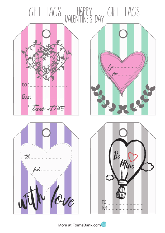 Happy Valentine's Day Gift Tag Template