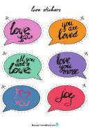 Speech Bubble Love Sticker Templates
