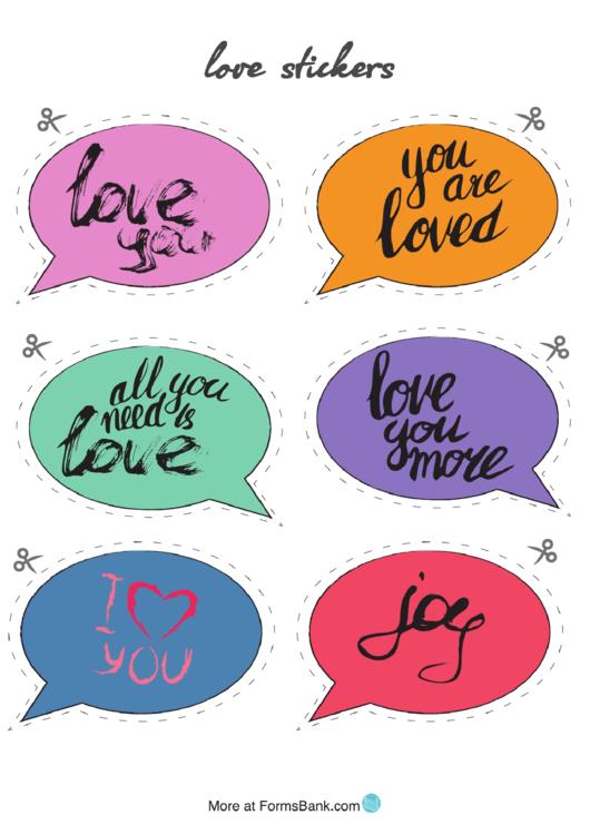 Speech Bubble Love Sticker Templates Printable pdf