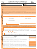 Schedules H & E (form It-140) - Certification For Permanent And Total Disability And Credit For Income Tax Paid To Another State - 2011