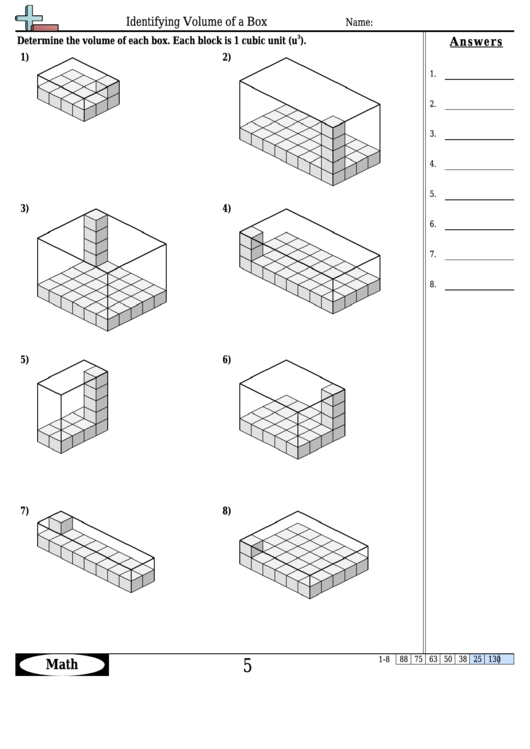Identifying Volume Of A Box Math Worksheet With Answers Printable