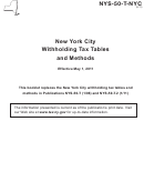 Instructions For Form Nys-50-t-nyc - New York City Withholding Tax Tables And Methods - 2011