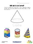 What Is A Cone - 3 Dimensional Shapes Worksheet