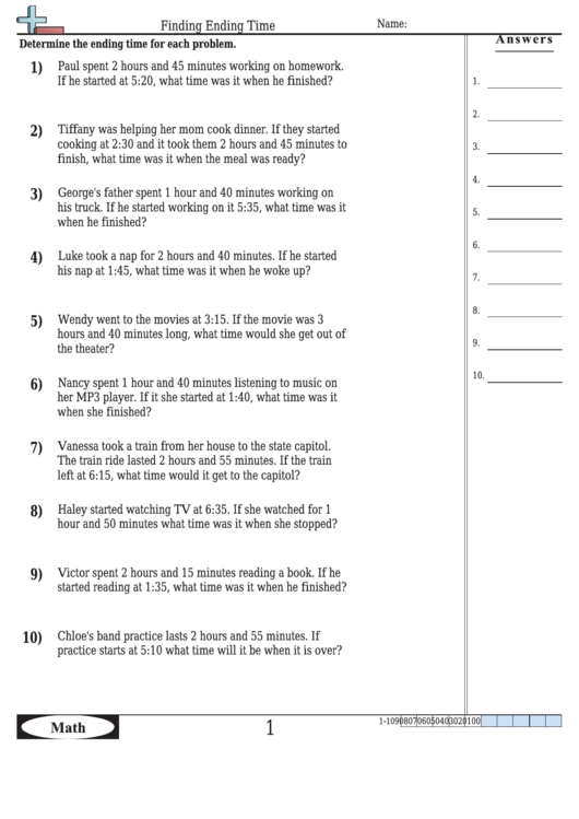 Finding Ending Time Worksheet Template With Answer Key Printable pdf