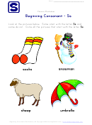Beginning Consonant - S - Phonics Worksheet