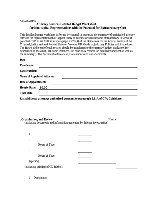 fillable form cja 28a attorney services detailed budget worksheet
